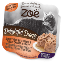 Zoe Cat Wet Recipes Delightful Duets Savory Pate With Turkey & Cuts Of Chicken In Gravy - 80g