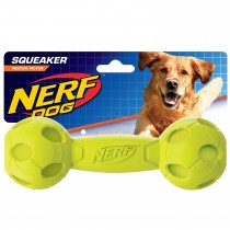 Nerf Dog Squeaker Barbell M - Green/Red