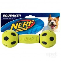 Nerf Dog Squeaker Wrapped Bash Barbell M - Blue/Green