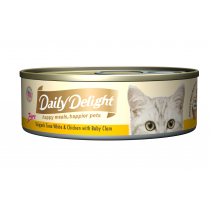 Daily Delight Cat Canned Pure Skipjack Tuna White & Chicken with Baby Clam - 80g