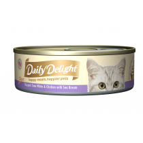 Daily Delight Cat Canned Pure Skipjack Tuna White & Chicken with Sea Bream - 80g