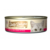 Daily Delight Cat Canned Pure Skipjack Tuna White & Chicken with Shrimp - 80g