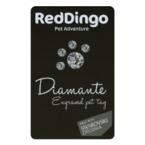 Red 'Dingo' Pet Tags Diamante