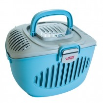Living World Paws2Go Small Pet Carrier - Grey/Blue - 36 cm L x 28 cm W x 25 cm H