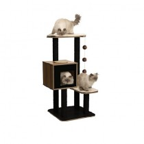 Vesper Cat Furniture V-High Base Walnut & Black colour