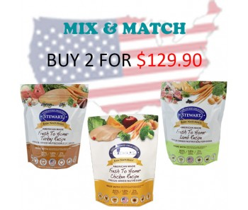 """Stewart® Raw Naturals™ Freeze Dried Food 24 oz Promo - Buy 2 for $129.90"