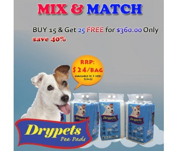 JANP DRYPETS 'PEE PADS PET SHEETS S, M & L - Buy 15 & Get 25 FREE for only $360.00