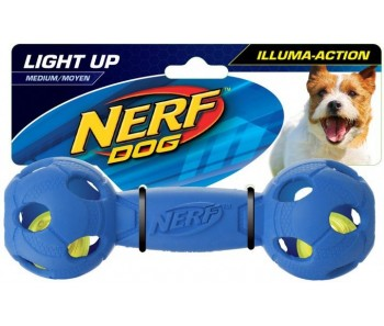 Nerf Dog Illuma-Action - Light Up Led Barbell M - Blue/Red