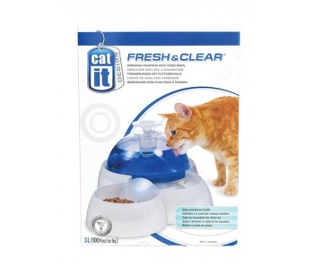 Catit Design Fresh & Clear Cat Drinking Fountain - 3 L with Food Bowl (50050)