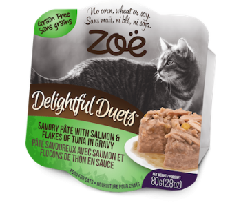 Zoe Cat Wet Recipes Delightful Duets Savory Pate With Salmon & flakes Of Tuna In Gravy - 80g