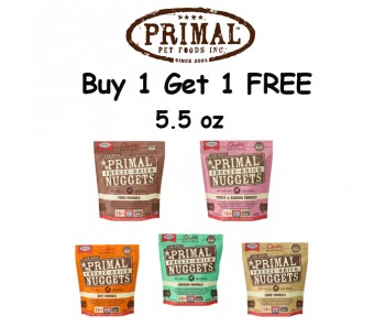 'Primal Freeze-Dried Dog 5.5oz (Duo Bundle Mix) - Buy 1 Get 1 Free