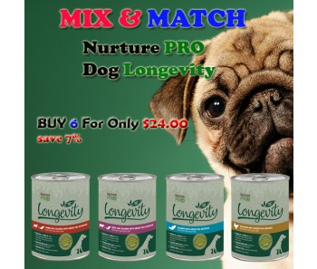 """NURTURE PRO DOG CAN LONGEVITY Buy 6 for $24.00"