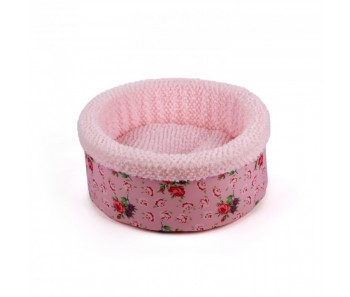 All For Paws - Shabby Chic Round Bed Pink