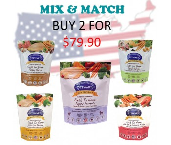 """Stewart® Raw Naturals™ Freeze Dried Food 12 oz Promo - Buy 2 for $79.90"
