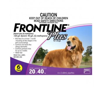 FRONTLINE® Plus for Dogs 20-40kg – 6 Pipettes
