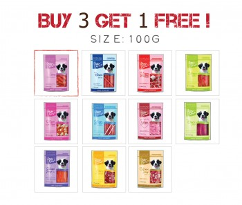 Buy 3 Get 1 Free - Jerky Time Dog 100g