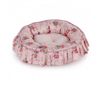 All For Paws - Shabby Chic Round Bed Medium Pink