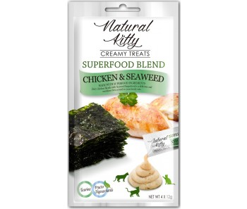 Natural Kitty Creamy Treats Superfood Blend – Chicken & Seaweed 4x12g