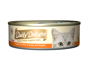 Daily Delight Cat Canned Pure Skipjack Tuna White & Chicken with Pumpkin - 80g