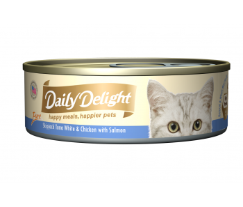 Daily Delight Cat Canned Pure Skipjack Tuna White & Chicken with Salmon - 80g