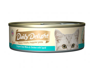 Daily Delight Cat Canned Pure Skipjack Tuna White & Chicken with Squid - 80g