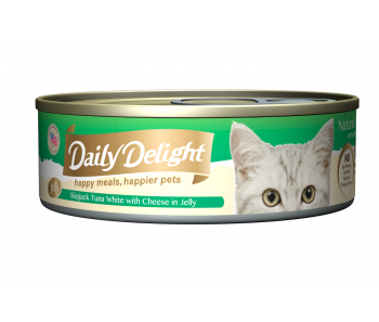 Daily Delight Cat Canned Skipjack Tuna White with Cheese in Jelly - 80g