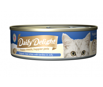 Daily Delight Cat Canned Skipjack Tuna White with Sardine in Jelly - 80g