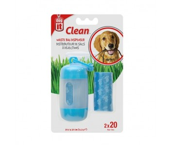 Dogit Waste Bag Dispenser - 2 Rolls/20 Bags - 29.5 x 23 cm (11.6 x 9 in) - Blue