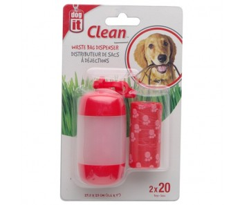 Dogit Waste Bag Dispenser - 2 Rolls/20 Bags - 29.5 x 23 cm (11.6 x 9 in) - Red