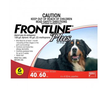 FRONTLINE® Plus For Dogs 40-60Kg – 6 Pipettes