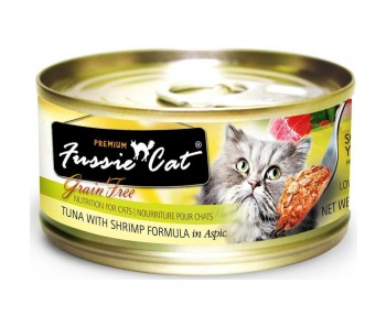 Fussie Cat Canned Premium Tuna With Shrimp In Aspic 80g
