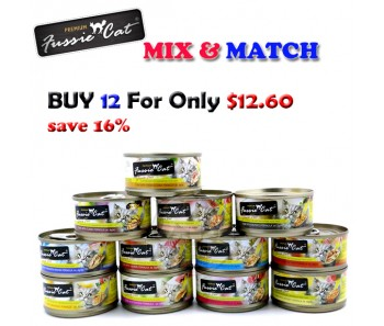'Fussie Cat' Canned Food Premium - Bundle Mix - Buy Any 12 for $12.60
