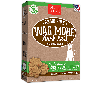 Cloud Star Wag More Bark Less Grain Free Oven Baked Chicken and Sweet Potatoes Dog Treats 14oz