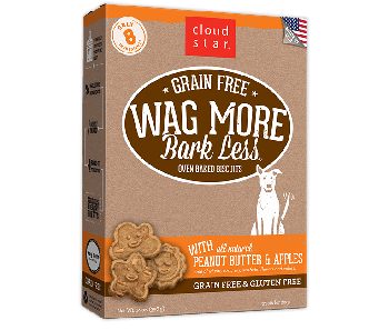 Cloud Star Wag More Bark Less Grain Free Oven Baked Peanut Butter and Apples Dog Treats 14oz