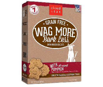 Cloud Star Wag More Bark Less Grain Free Oven Baked Pumpkin Dog Treats 14oz