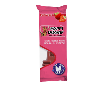 "Happi Doggy Dental Chew Large 6"" Strawberry"
