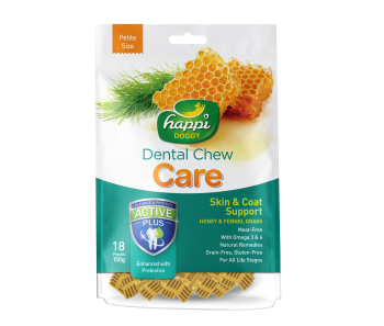 "Happi Doggy Dental Chew Care Skin & Coat Support With Fennel Grass & Honey - Regular 4"" 150g"