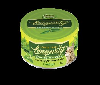 Nurture Pro Cat Longevity with Green Tea Essence GF Chicken & Skipjack Tuna White Meat - Catnip 80g