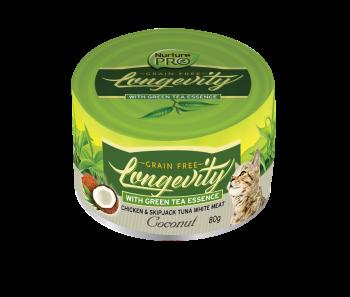 Nurture Pro Cat Longevity with Green Tea Essence GF Chicken & Skipjack Tuna White Meat - Coconut 80g