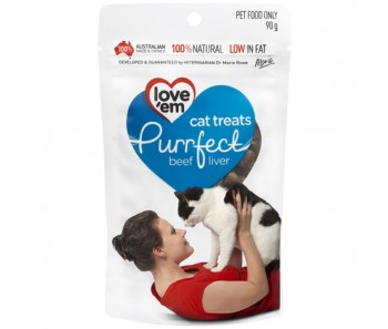 Love'em Purrfect Beef And Pork Liver Cat Treats 90g