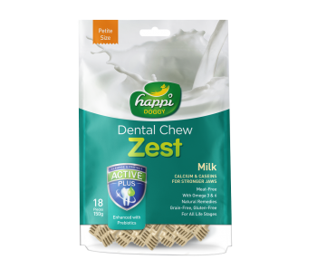 "Happi Doggy Dental Chew Zest Milk - Petite 2.5"" 150g"