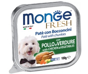 Monge Dog Tray Food Fresh Chicken & Vegetables Pate w Chunkies 100g