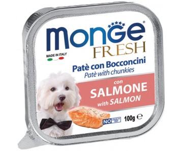 Monge Fresh Salmon Paté w Chunkies Tray 100g