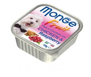 Monge Fruits Chicken & Raspberry Paté w Chunkies Tray 100g
