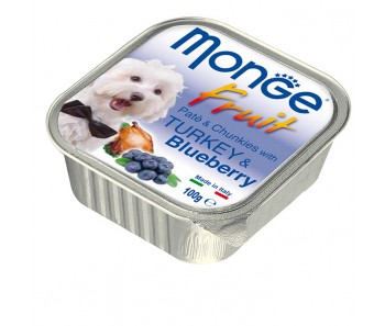 Monge Fruits Turkey & Blueberry Paté w Chunkies Tray 100g