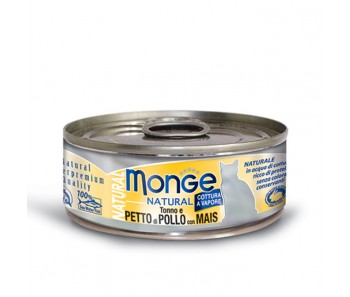 Monge Cat Canned Natural Tuna & Chicken with Corn 80g