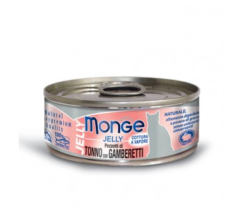 Monge Cat Canned Jelly Yellowfin Tuna with Shrimps 80g