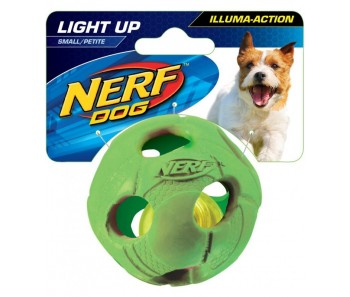 Nerf Dog Illuma-Action - Light Up Led Ball S - Blue/Green