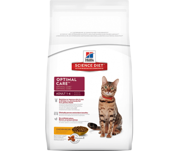 Science Diet Feline Adult Optimal Care 1-6yrs - Available in 2kg, 4kg & 10kg