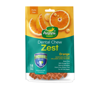 "Happi Doggy Dental Chew Zest Orange - Petite 2.5"" 150g"